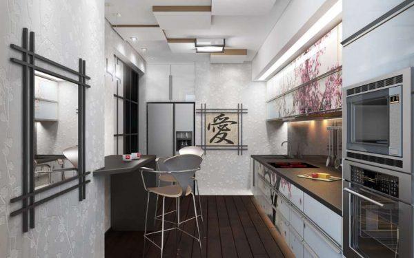 кухня в японском стиле с зеркалом