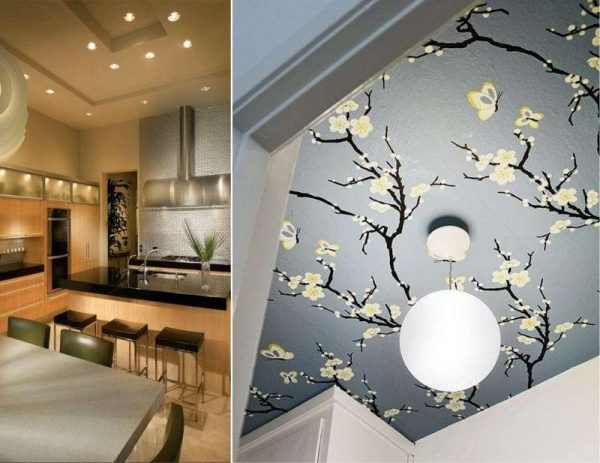 оформление потолка на кухне в японском стиле