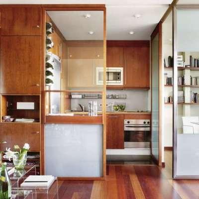 раздвижные перегородки в интерьере малогабаритной кухни