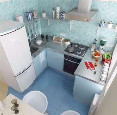 голубые стены на маленькой кухне