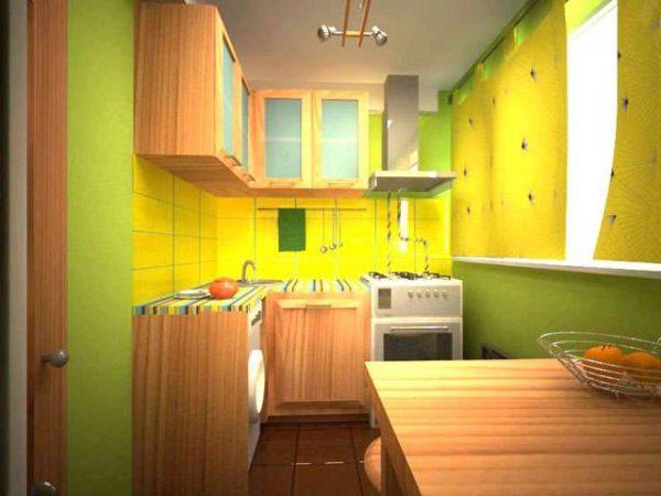 жёлто-зелёный интерьер малогабаритной кухни