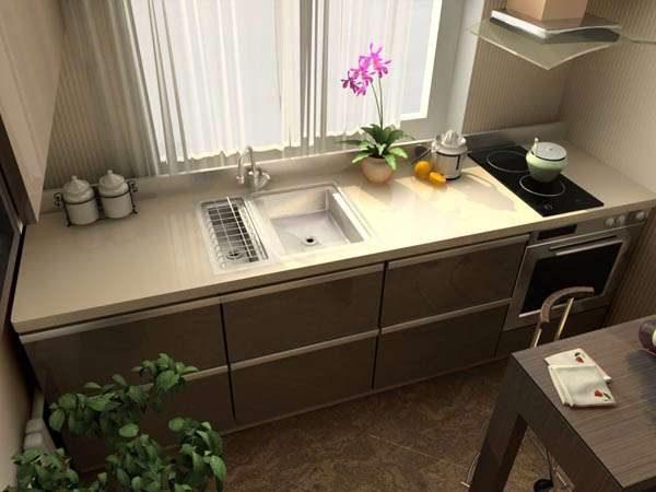 линейный гарнитур на маленькой кухне