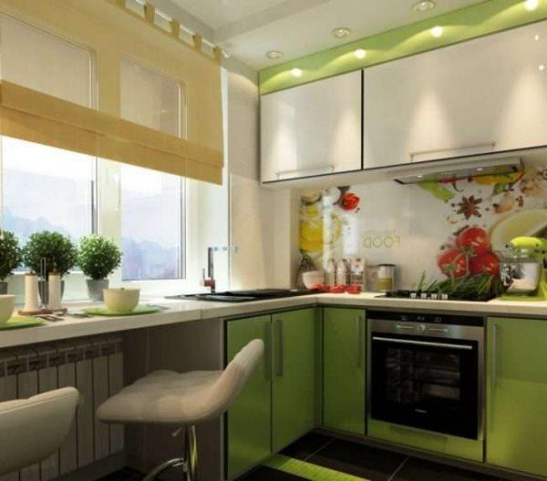 угловой зелёный гарнитур на маленькой кухне