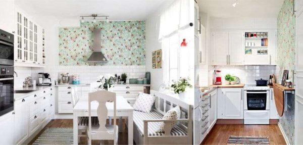 зелёные обои с белым кухонным гарнитуром