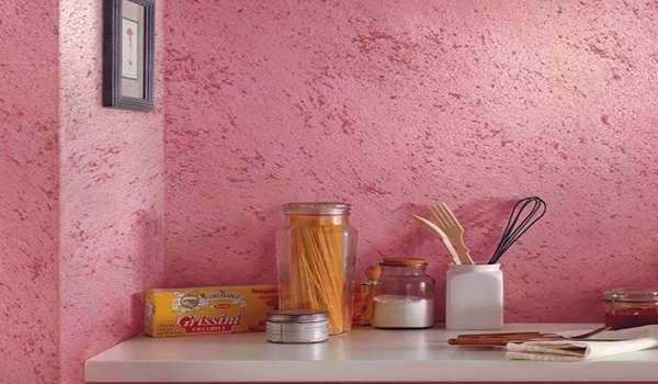 Декоративная штукатурка короед на кухне