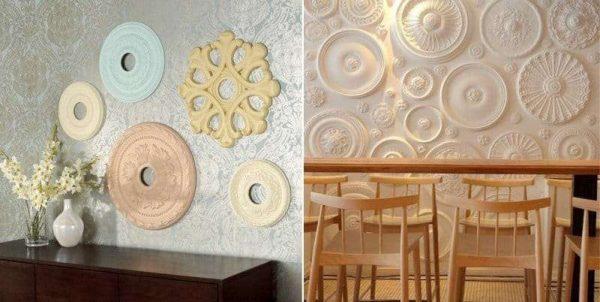 декор стены кухни лепниной
