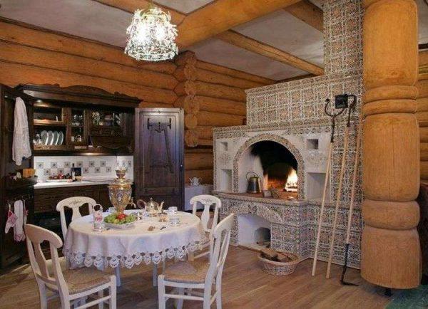 стены из дерева на кухне с печкой