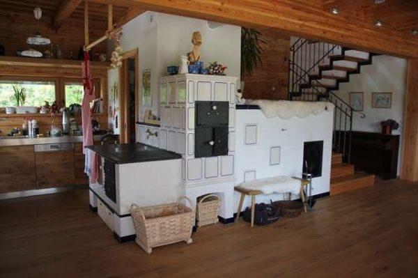 печка в частном доме на кухне