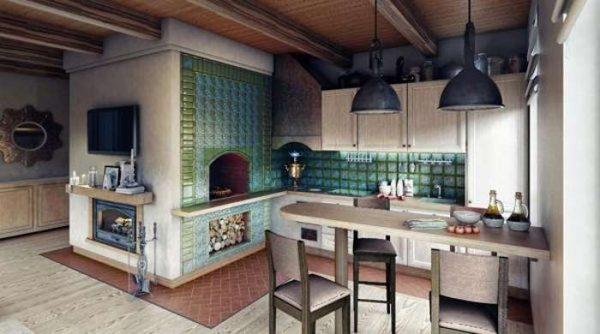 потолок из деревянных планок на кухне в доме с печкой