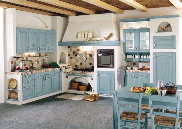 прованс на кухне в доме с печкой