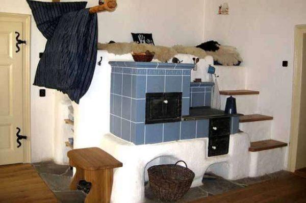 плитка на печке на кухни в частном доме