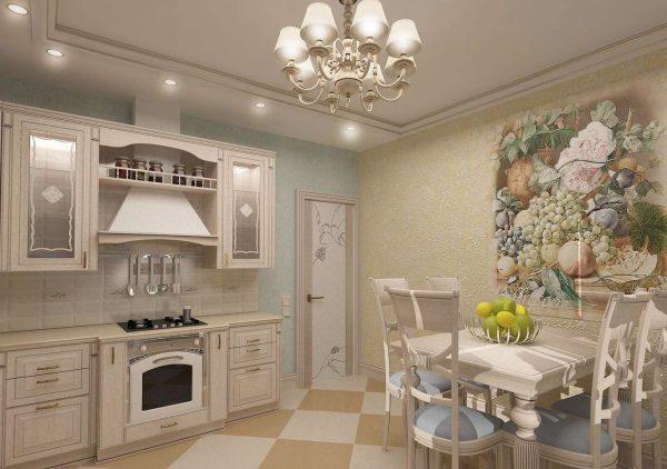 фотообои в интерьере кухни в стиле прованс