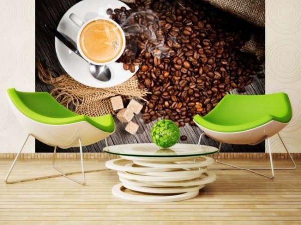 фотообои с кофе в интерьере кухни