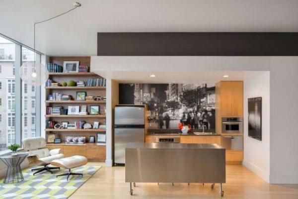 чёрно белые фотообои в интерьере кухни