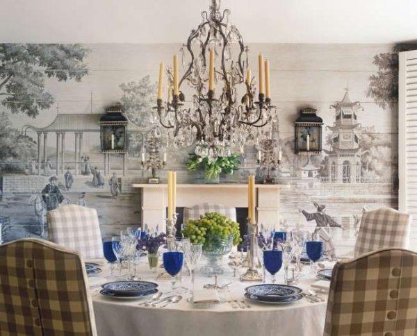 фотообои в классическом стиле в интерьере кухни