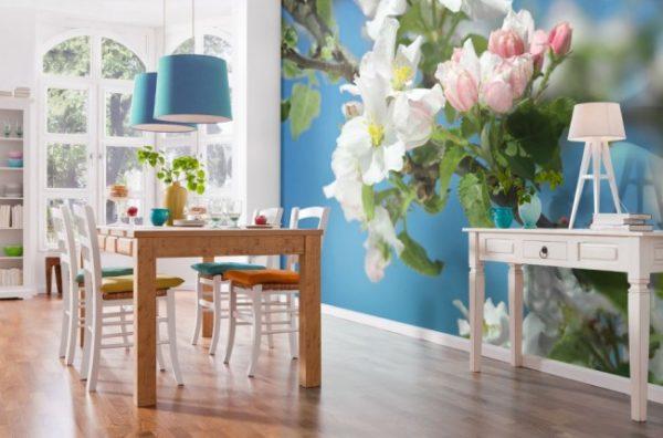 красивые цветы на фотообях кухни