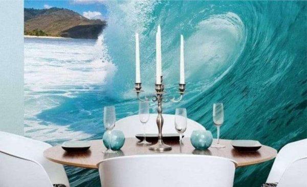 морская волна на фотообоях кухни