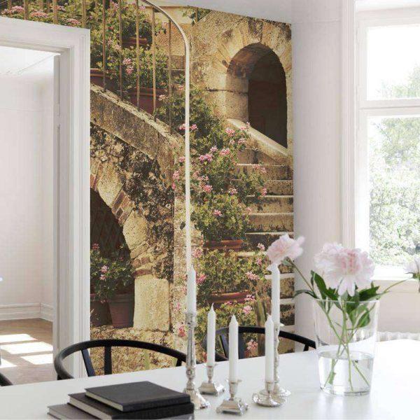 фотообои с пейзажем в интерьере кухни