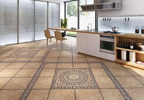 матовая плитка на полу кухни