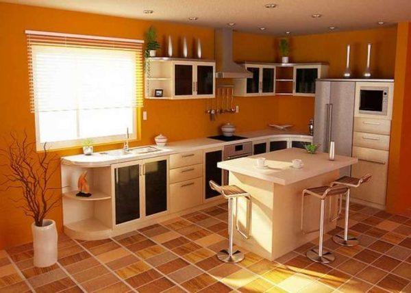 оранжевая плитка на полу кухни