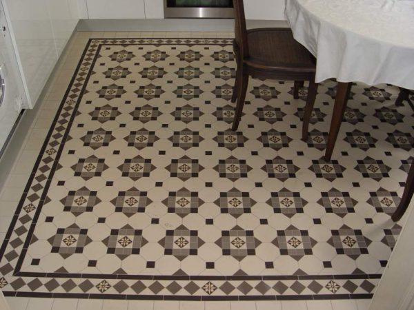 плитка с узором на полу кухни
