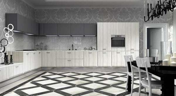 плитка с геометрическим узором на полу кухни