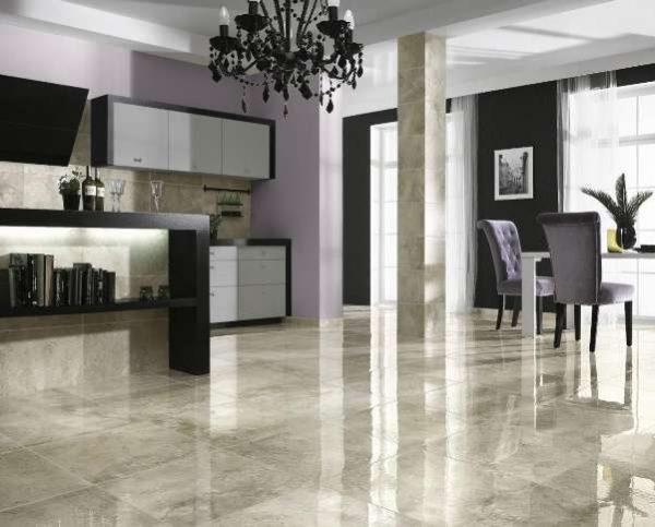 мраморная плитка на кухонном полу