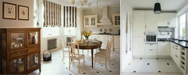 белая плитка на полу кухни с чёрными квадратами