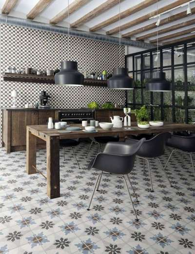 плитка на полу кухни с рисунком