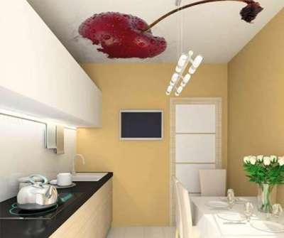 ремонт кухни шесть метров с натяжным потолком