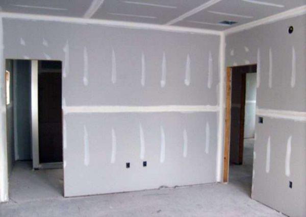 выравнивание стены на кухне из гипсокартона
