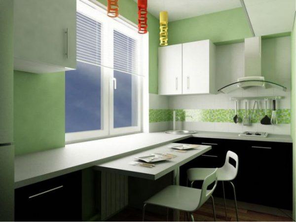 ремонт кухни шесть метров с зелёными стенами