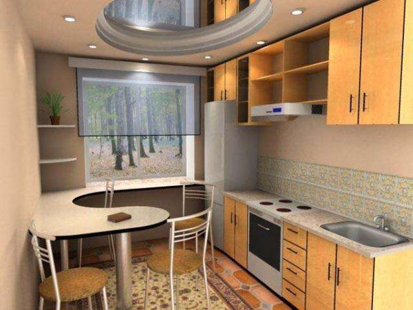 зеркальный потолок на кухне после ремонта