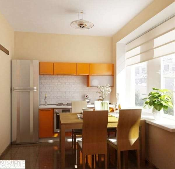 ремонт кухни шесть метров с окрашенными стенами