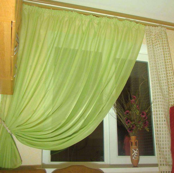 шторы с подхватом на кухню своими руками