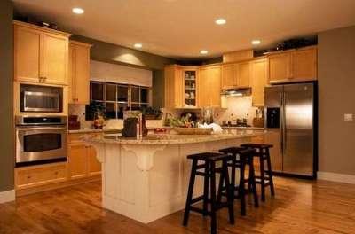 сочетание коричневого цвета с песочным в интерьере кухни