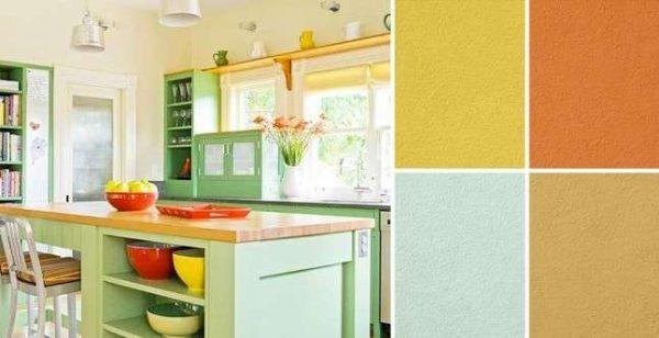 сочетание зелёного и жёлтого цвета в интерьере кухни