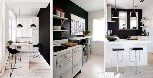 сочетание белого и чёрного цветов в интерьере кухни