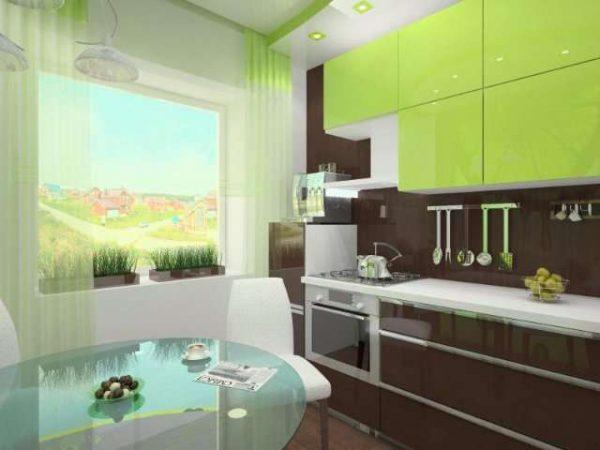 сочетание зелёного с коричневым в интерьере кухни