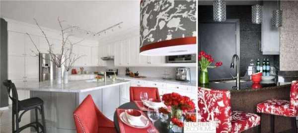 сочетание красного с белым и серым цветом в интерьере кухни