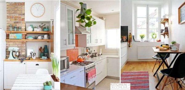сочетание белого с яркими цветами в интерьере кухни