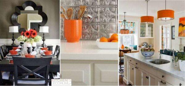 сочетание оранжевого с чёрным и белым цветами в интерьере кухни