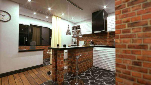 деревянные полы на кухне в стиле лофт