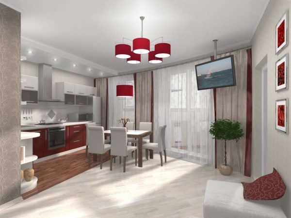 телевизор на потолке кухни