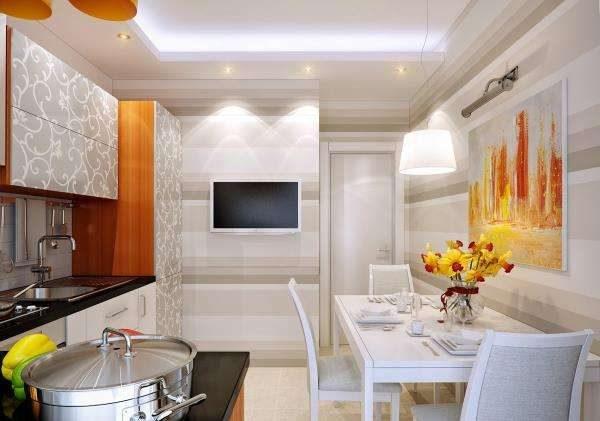 телевизор на кухонной стене