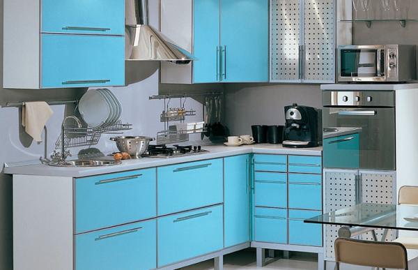 голубая угловая кухня эконом класса