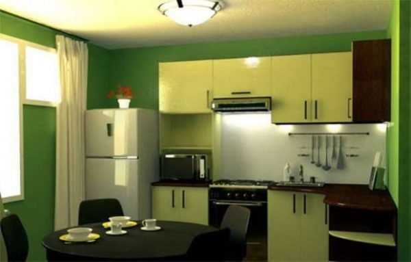 зелёная угловая кухня эконом класса и зелёные стены