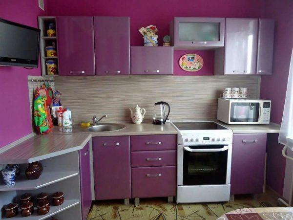 фиолетовая угловая кухня эконом класса