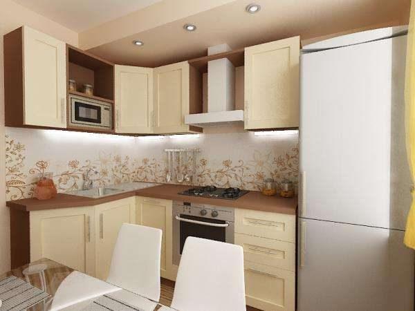 угловая кухня эконом класса с коричневой столешницей