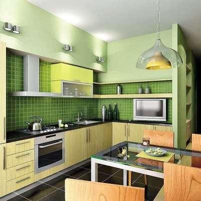 зелёная угловая кухня эконом класса с открытыми полками